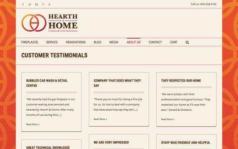 Screenshot of Testimonials Page hearthandhomefireplace.com - Customer Reviews and Testimonials - Hearth & Home - captured Nov. 6, 2016