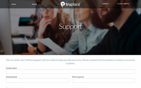 Screenshot of Support Page truplace.com - TruPlace Support will ensure you get the best possible service - captured Sept. 21, 2018