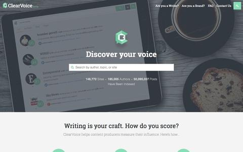Screenshot of Home Page clearvoice.com - Innovative Content Marketing & Writing Platform | ClearVoice - captured Sept. 19, 2014