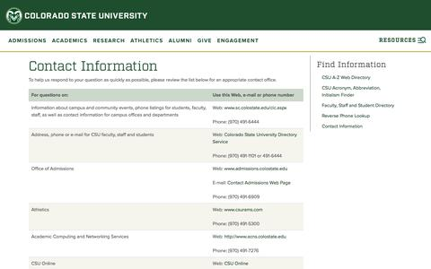 Screenshot of Contact Page colostate.edu - Contact Information | Colorado State University - captured May 9, 2017