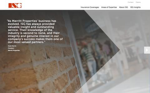 Screenshot of Home Page isgusa.com - ISG | Insurance Services Group - captured Oct. 6, 2014