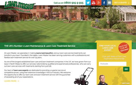 Screenshot of Home Page lawnmaster.co.uk - Lawn Care, Maintenance & Lawn Treatment Services - captured July 16, 2018
