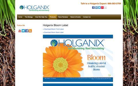 Screenshot of holganix.com - Label - captured March 19, 2016