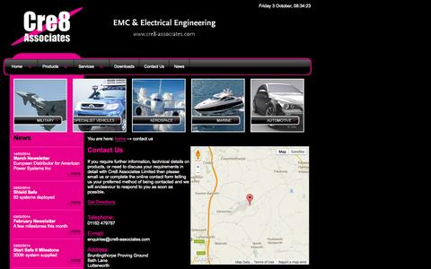 Screenshot of Contact Page cre8-associates.com - EMC, EMC filters, Electrical Engineering, EMC Consultancy & Testing. - captured Oct. 3, 2014