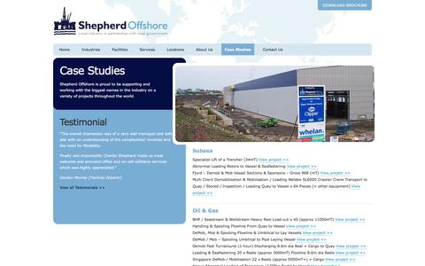 Screenshot of Case Studies Page shepherdoffshore.com - Case Studies | Shepherd Offshore - captured Dec. 1, 2016