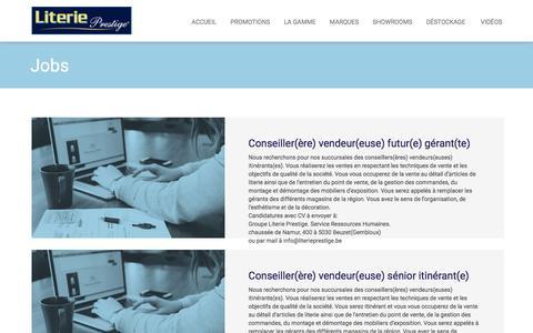 Screenshot of Jobs Page literieprestige.be - Literie Prestige, des professionnels au service de votre sommeil - captured July 15, 2016
