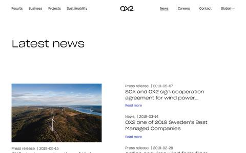 Screenshot of Press Page ox2.com - News from OX2 and the sustainable industry we're in - captured June 6, 2019