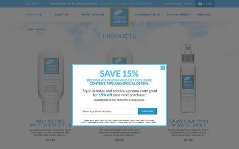 Screenshot of Products Page blockislandorganics.com - Products: Natural Mineral Sunscreen, Sunblock and Skin Care for Adults, Kids and Babies - Block Island Organics: Suncare + Skin Care + Sunscreen + Sunblock - captured Oct. 10, 2017