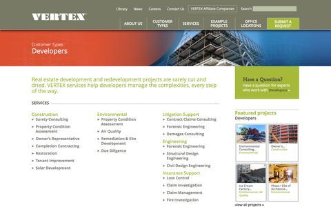 Screenshot of Developers Page vertexeng.com - Vertex Customers include Real Estate Developers | The Vertex Companies - captured Nov. 21, 2015