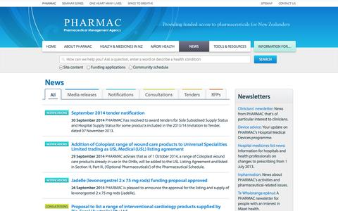 Screenshot of Press Page pharmac.health.nz - News  | PHARMAC - captured Oct. 2, 2014