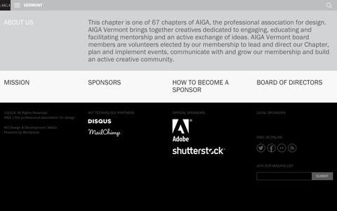 Screenshot of About Page aiga.org - AIGA VERMONT | About Us - captured Sept. 18, 2014