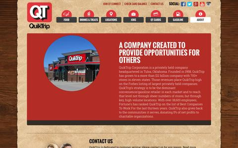 Screenshot of About Page quiktrip.com - QuikTrip Corporation > About - captured Dec. 5, 2016