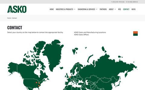 Screenshot of Contact Page askoinc.com - Contact – ASKO, Inc. - captured Oct. 2, 2018