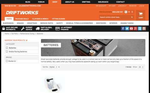 Screenshot of driftworks.com - Batteries by Driftworks.com, the Batteries experts. - captured March 19, 2016