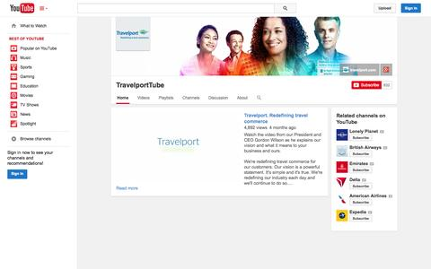 Screenshot of YouTube Page youtube.com - TravelportTube  - YouTube - captured Oct. 25, 2014