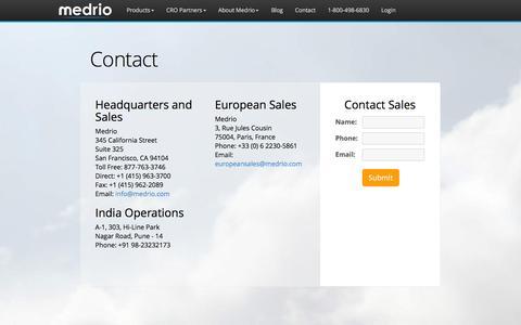 Screenshot of Contact Page medrio.com - Contact Medrio - captured Dec. 4, 2015