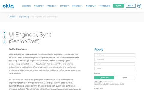 Screenshot of Jobs Page okta.com - UI Engineer, Sync (Senior/Staff) | Okta - captured March 4, 2018