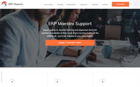 Screenshot of Support Page erpmaestro.com - (2) New Messages! - captured Sept. 26, 2018