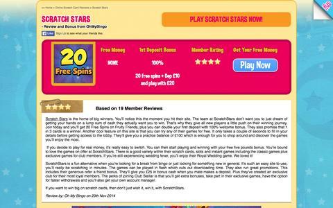 Screenshot of ohmybingo.com - ScratchStars | 20 Free Spins plus 100% Welcome Bonus - captured March 19, 2016