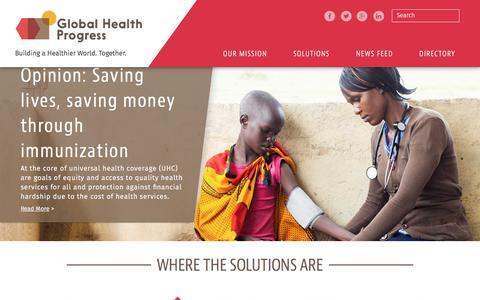 Screenshot of Home Page globalhealthprogress.org - Global Health Progress | - captured July 19, 2018