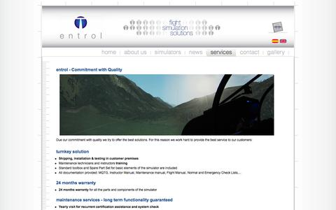 Screenshot of Services Page entrol.es - FNPT II MCC and FTD Simulators For Sale | entrol Services - captured Oct. 3, 2014