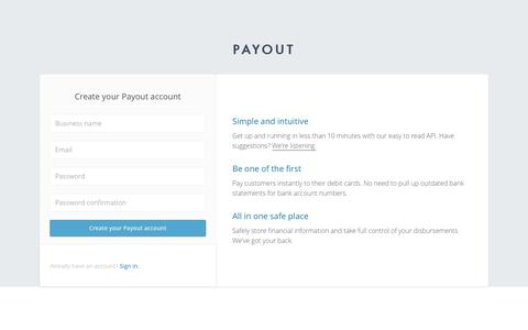 Screenshot of Signup Page payout.com - Payout - captured June 27, 2016
