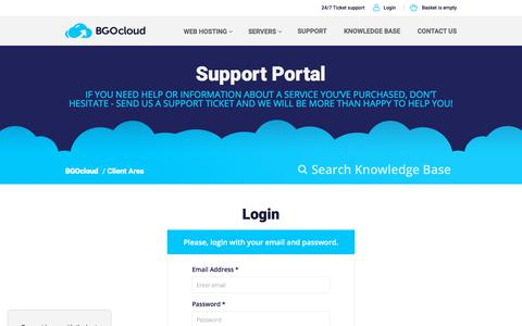 Screenshot of Login Page bgocloud.com - Sign in to Client Area | BGOcloud - captured July 9, 2018