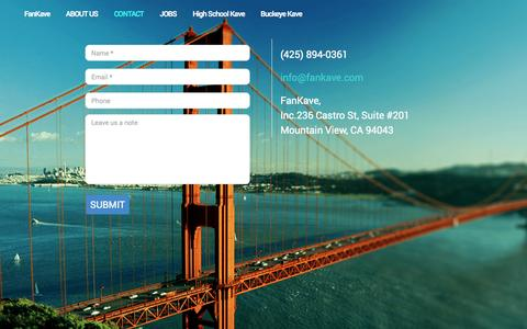 Screenshot of Contact Page fankave.com - Contact us | FanKave - captured Oct. 22, 2014