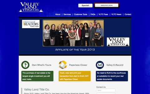 Screenshot of Home Page valleylandtitleco.com - Valley Land Title Co. - captured Sept. 30, 2014