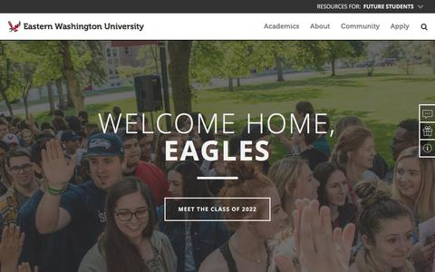 Screenshot of Home Page ewu.edu - Eastern Washington University - captured Sept. 22, 2018