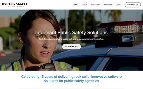 Screenshot of Home Page informant-tech.com - Informant Technologies, Inc. - captured Oct. 6, 2014