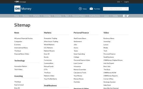 Screenshot of Site Map Page cnn.com - Sitemap - CNNMoney - captured July 20, 2014