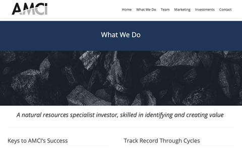 Screenshot of About Page amcigroup.com - What We Do – AMCI Group - captured Dec. 9, 2018