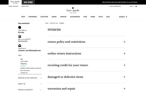 Screenshot of katespade.com - returns - captured Aug. 25, 2017