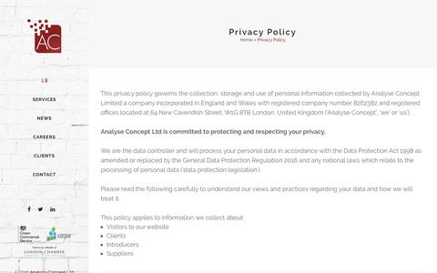 Screenshot of Privacy Page analyse-concept.com - Privacy Policy - Analyse-Concept - captured July 30, 2018