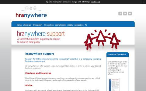 Screenshot of Support Page hranywhere.com - support — hranywhere - captured July 17, 2016