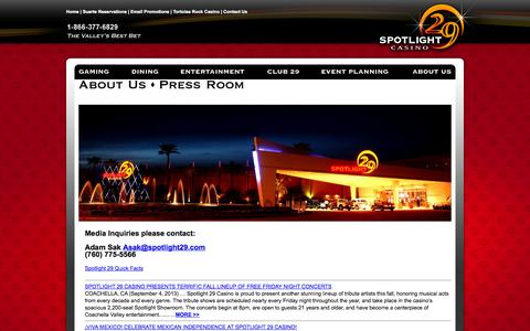 Screenshot of Press Page spotlight29.com - Spotlight 29 Casino - captured Oct. 6, 2014