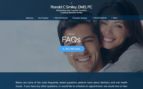 Screenshot of FAQ Page rcsmiley.com - FAQs | Savannah, GA | Ronald C Smiley, DMD, PC - captured July 4, 2018