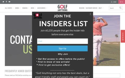 Screenshot of Contact Page golfanything.com - Contact Us - Golf Anything US - captured Sept. 29, 2018