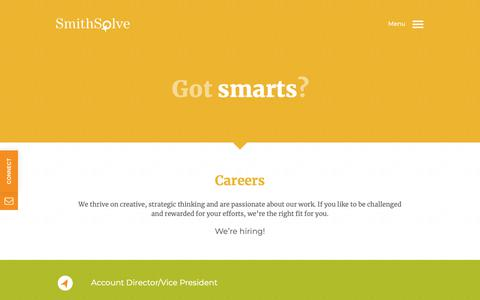 Screenshot of Jobs Page smithsolve.com - Careers - SmithSolve    SmithSolve - captured Nov. 19, 2018