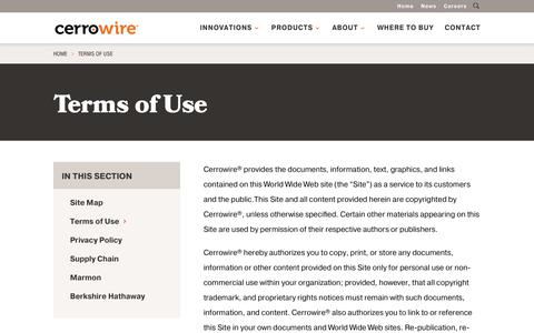 Screenshot of Terms Page cerrowire.com - Terms of Use - CerroWire - captured Sept. 27, 2018