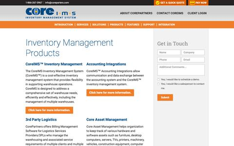 Screenshot of Products Page coreims.com - Warehouse Inventory Management & Barcode Inventory Software - CoreIMS™ - captured Sept. 29, 2018