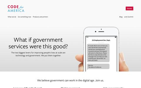 Screenshot of Home Page codeforamerica.org - What if government services were this good? · Code for America - captured Aug. 12, 2016