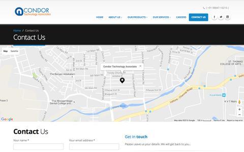 Screenshot of Contact Page ctaindia.com - Contact Us |  Condor Technology Associates - captured Nov. 10, 2016