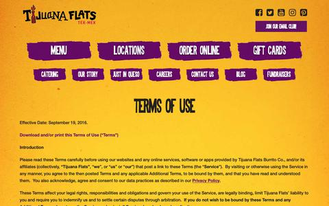 Screenshot of Terms Page tijuanaflats.com - Terms & Conditions - Tijuana Flats - captured Nov. 11, 2018