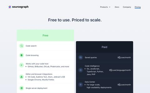 Screenshot of Pricing Page sourcegraph.com - Sourcegraph - Pricing - captured Dec. 18, 2017