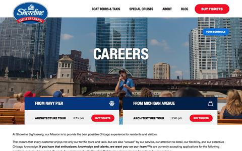 Screenshot of Jobs Page shorelinesightseeing.com - Careers   Shoreline Sightseeing Chicago Boat Tours - captured Sept. 20, 2018
