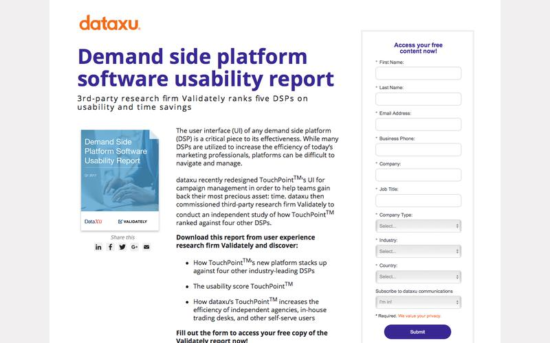Demand side platform software usability report from research firm Validately