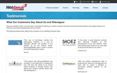 Screenshot of Testimonials Page webjaguar.com - Testimonials - captured Sept. 19, 2014