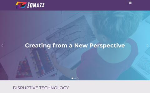 Screenshot of Home Page zomazz.com - ZoMazz | Creating from a New Perspective - captured Nov. 4, 2018